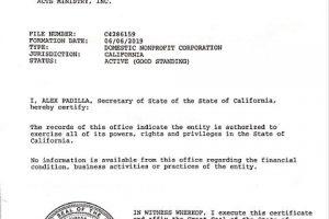 Secretary of State - Certificate of Status